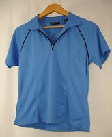 Bolle Golf Womens Short Sleeve Collared Quarter Zip Athletic Shirt Blue S