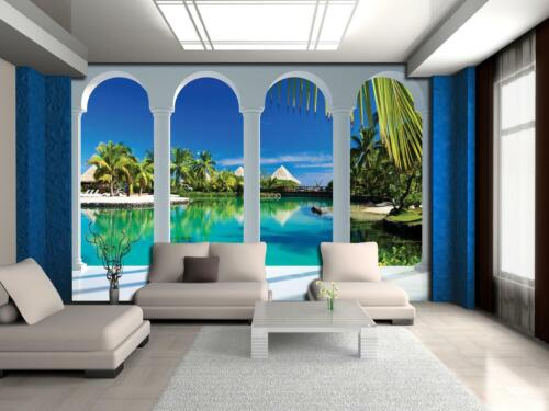 Fototapete Strand Meer Terrasse Palmen Wohnzimmer Tapete XXL Malediven