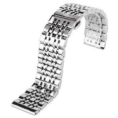 20/22/24mm Silver Solid Link Stainless Steel Bracelet Watchband Wrist Strap Men
