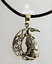 Bronze Howling Wolf necklace by Lisa Parker moon pentagram pagan on waxed cord