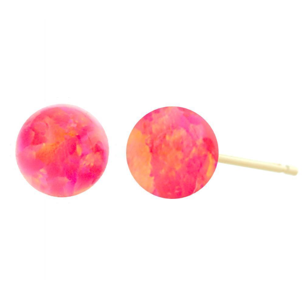 Hot Pink Synthetic Australian Opal Ball Stud Earrings 14K gold, pinkanne
