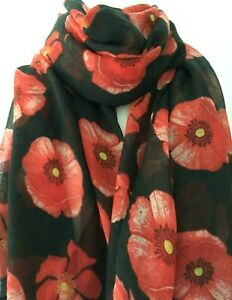 New White Poppy Scarf Ladies Red Floral Scarf Flower Wrap Poppies Shawl Flowers
