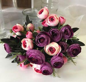 Silk wedding flowers fake pink pale purple ranunculus bush flower image is loading silk wedding flowers fake pink pale purple ranunculus mightylinksfo