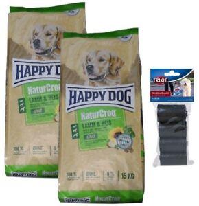 2x15kg Happy Dog Naturcroq Nourriture pour chien, riz et agneau, adulte 80 pièces Kotbeutel