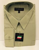 Daniel Ellissa Olive Dress Shirt With Pocket & Convertible Cuff Men's 15.5-21.5