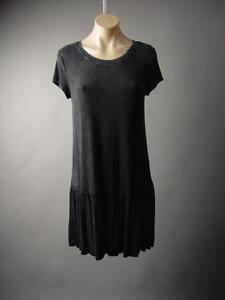 Black-Acid-Wash-Gothic-Lolita-Punk-Drop-Waist-Jersey-T-Shirt-230-mv-Dress-S-M-L