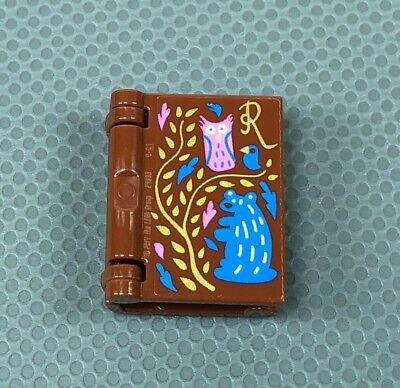LEGO 2-Part Reddish-Brown Book with Disney Castle and Gold Trim