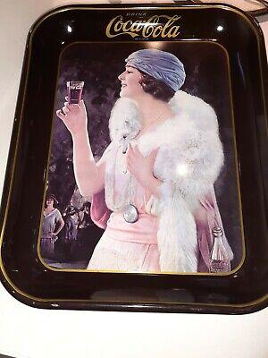 Coca-Cola 1973 Party Flapper Girl Blue Hat Metal Serving Tray Coke Vintage