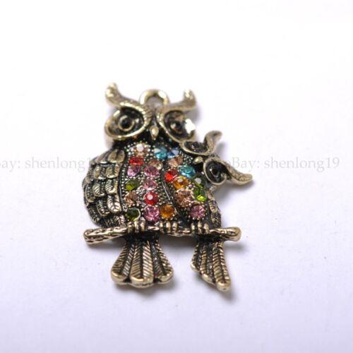 2pcs Tibetan Silver The Bronze Owl  Charm Pendants 42X29MM  SH1063