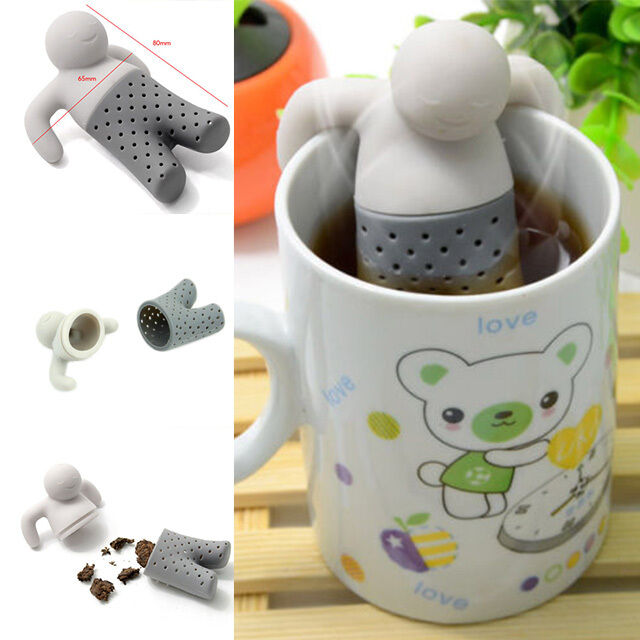 1PC Tea Leaf Strainer Herbal Spice Filter Diffuser Silicone Cute Mr.Tea Infuser