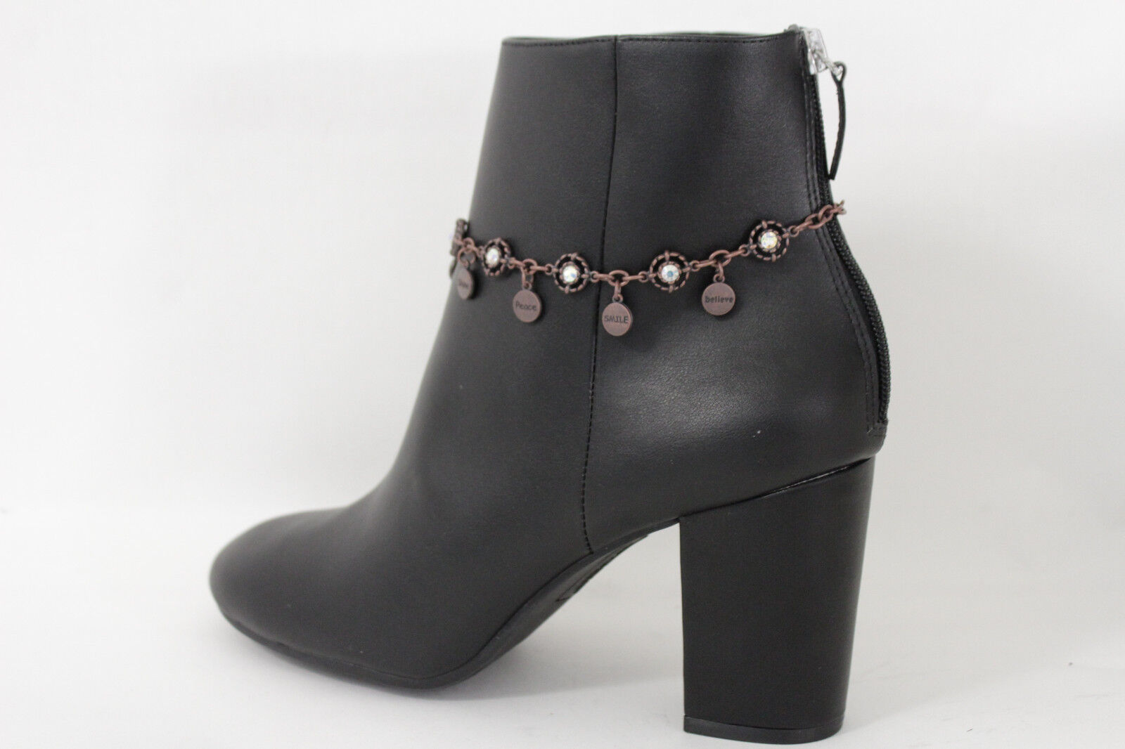 Women Fashion Boot Chains Bracelet Brown Metal Charm Believe Hope Peace Smile