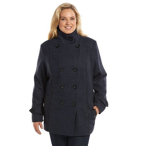Croft & Barrow Double-Breasted Faux-Wool Peacoat Coat 1X Denim Herringbone