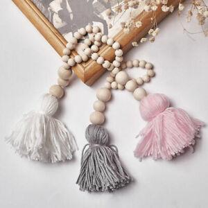 Tassel Macrame Woven Wall Hanging Tapestry Handmade Wooden Beads