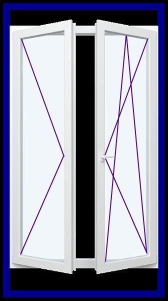 2 Flügelige Fenster Balkontür  Ovlo  Classic  Glas 2 o. 3 fach verglasung