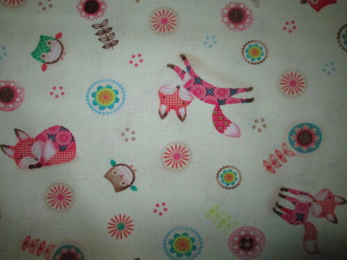 FOX LIME GREEN BUTTERFLY FOXY FOXS COTTON FABRIC FQ