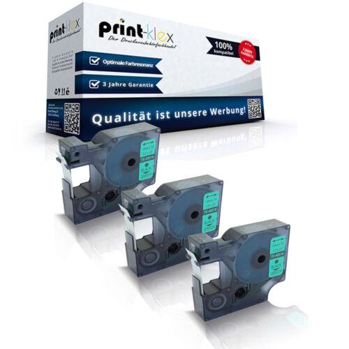 Drucker Pro Serie 3x Kompatible Schriftbänder für Dymo 45019 S0720590 12mm Band