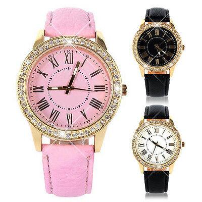 Womens Fashion Bling Crystal Faux Leather Strap Golden Analog Quartz Wrist Watch