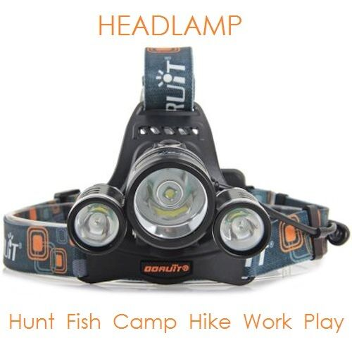 NEW CREE XLamp XM-L2 5000LM LED Headlamp w 18650 Battery Car Charger for Fishing