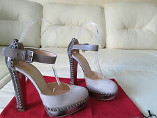 Christian Louboutin Luxura 140 Suede Python Studded Sandal Heel 36.5 6.5 7