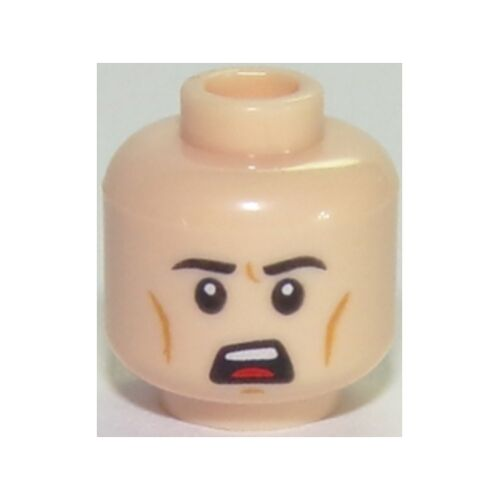 Head Male Black Eyebrows Chin Dimple Minifig Open Mouth Scowl Pattern LEGO