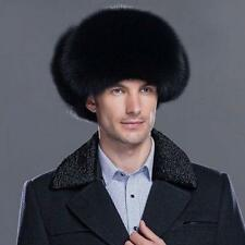 Men's Winter Black Hat Real Fox Leather Russian Ushanka Cossack Trapper gh88