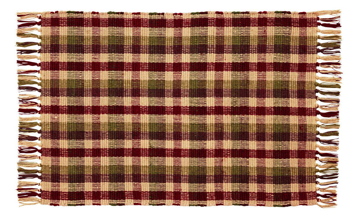 Country Rustic Farmhouse Cabin Apple Cider Green Tan Red Woven Area Throw Rug