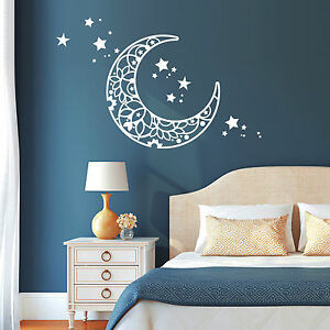 Schon Das Bild Wird Geladen 11117 Wandtattoo Mond Sterne Schlafzimmer Moon Star  Weiss