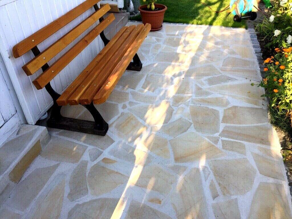 Bodenplatten Naturstein Polygonalplatten Fliese Terassenplatten Gehweg Kalkstein