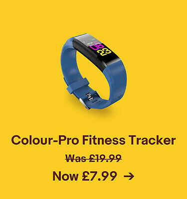 Colour-Pro Fitness Tracker. Was £19.99. Now £7.99.