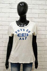 Maglia-ABERCROMBIE-Donna-Taglia-Size-M-Maglietta-Shirt-Woman-Grigio-Manica-Corta