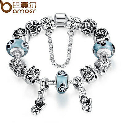 Christmas DIY European Animals Bear Charms Bracelets With Blue Beads For Women