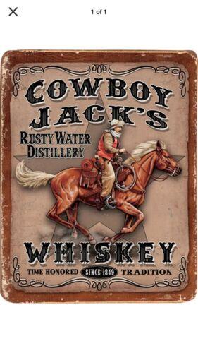 "TIN SIGN /""Cowboy Jacks"" Saloon Bar Mancave Whisky Liquor College Drinks Rustic"