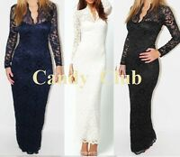 Womens Sexy Lace Floral Bodycon Maxi Long Prom Party Evening Dress Size 6-24