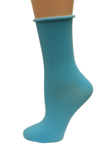 Turquoise Bell Womens Relaxed Top Crew Socks 1 Pair Shoe Size: 4-10 28926 K