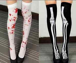 Halloween-Horror-Skeleton-Bone-amp-Fake-Blood-Stained-Knee-High-Tights-Stockings