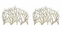 Two 48 Branch Style Metal Decorative Fireplace Screen Bright Gold Finish