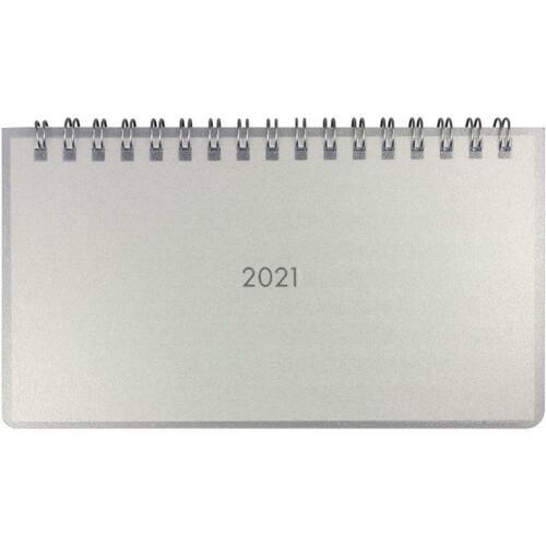 Idena Tischkalender 2021 Mini silber Schreibtischkalender Terminkalender Timer