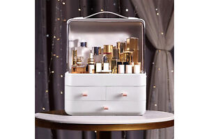 Organizer trucco cosmetici box bianco portatile make up 3cassetti con maniglia