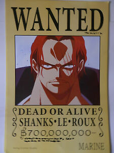 ONE PIECE POSTER SHANKS WANTED 2 42x29 CM NEW | eBay