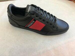 Lacoste-Men-039-s-Sneakers-Chaymon-Prem-419-Black-Red