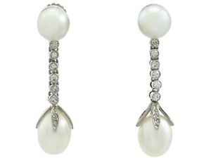 a177e4887c5e6 Details about Antique Natural Pearl and Diamond Platinum Drop Earrings -  Circa 1910