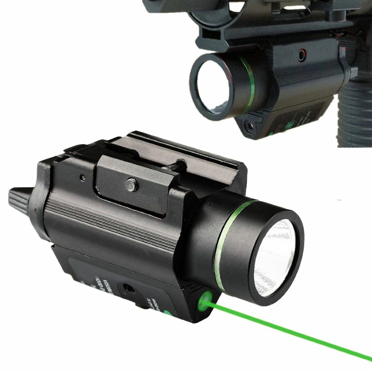 Tactical LED Flashlight&Metal Construction Green Laser Sight F Rifle Pistol