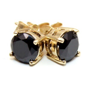 Black-Diamond-Unique-2ct-Solitaire-Solid-Gold-9ct-Stud-Earrings