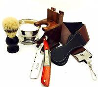 Zeva Solingen Multi Color Wood Handle Straight Razor Shaving Set In Gift Box P2
