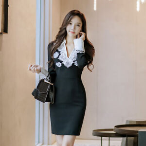 Vestido negro corto manga larga