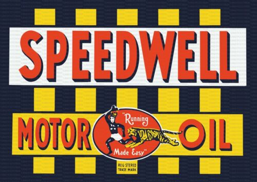 "SPEEDWELL MOTOR OIL 9/"" x 12/"" Sign"