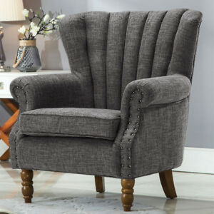 Image Is Loading Occasional Wing Chair High Back Fabric Linen Tub