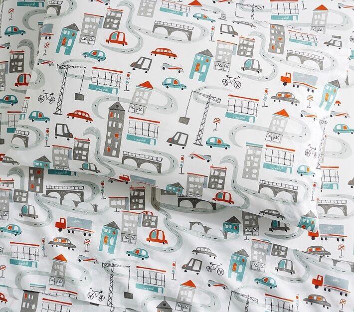 POTTERY BARN Kids Organic City Imprimé Grande Taille 4 pièces Feuille Set-Nouveau