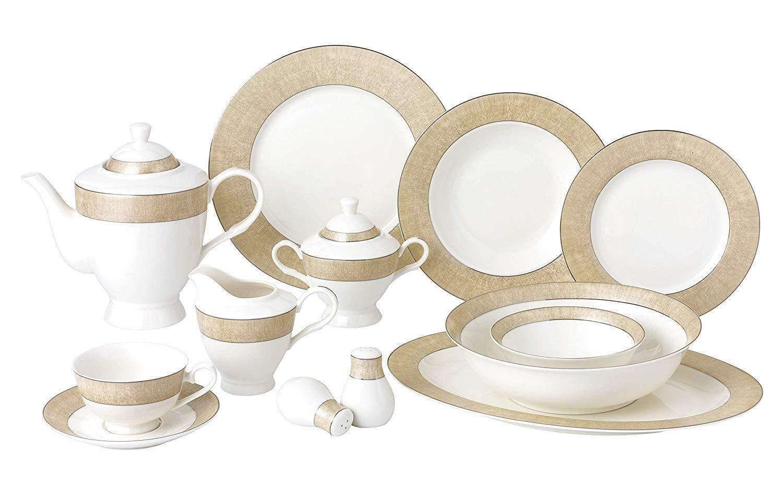 Royalty Porcelain Vintage Gold Pattern 57-pc Dinnerware Set 'Marilyn'