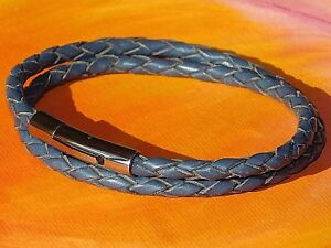 Mens-Ladies-4mm-Blue-braided-leather-amp-stainless-steel-bracelet-by-Lyme-Bay-Art